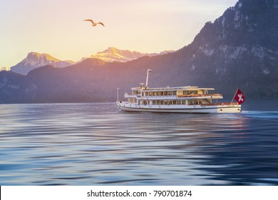 Lucerne, Switzerland.November1,2017; Lucerne Boat Tour on river with swiss mountain
