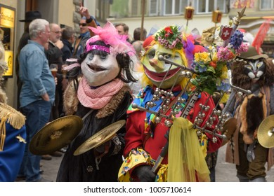 LUCERNE, SWIZERLAND - JANUARY 20, 2018:  A Fasnacht pre festival parade thro ugh the streets of Lucerne, Swizerland.