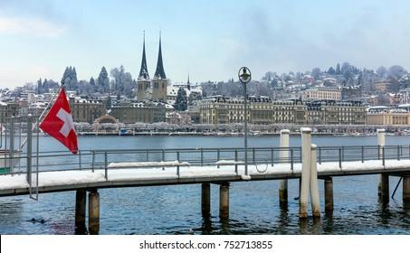 Lucerne in the winter, Switzerland.