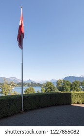 Lucerne/Switzerland - August 29 2015: Courtyard of Richard Wagner museum. The house is in the Tribschen district of Lucerne, Switzerland, where Richard Wagner lived from 1866 to 1872.