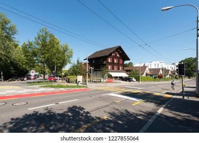 Lucerne/Switzerland - August 29 2015: Tribschenstrasse street in Luzern, Switzerland close to Richard Wagner museum
