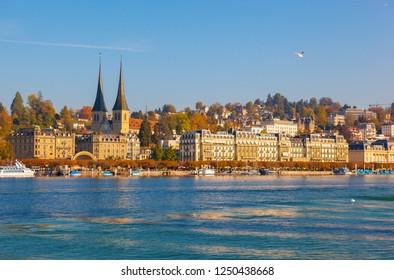 LUCERNE/SWITZERLAND-OCT 17: Lucerne city scenery on Oct 17 2018 in Lucerne, Switzerland.