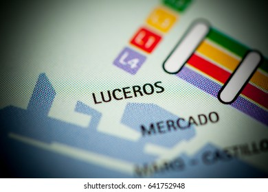 Luceros Station. Alicante Metro map.
