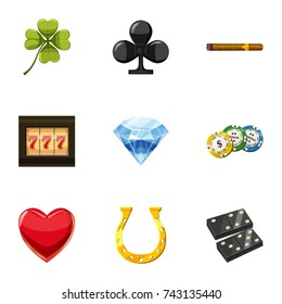 Luck icons set. Cartoon set of 9 luck  icons for web isolated on white background