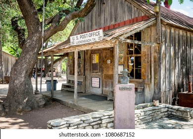 LUCKENBACH, TEXAS - APRIL 29th, 2018: Old US Post office that contains a general store, gift shop and bar. Made famous by the song Luckenbach Texas by Waylon Jennings and Willie Nelson