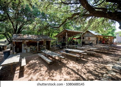 LUCKENBACH, TEXAS - APRIL 29th, 2018: Outdoor music venue behind the old post office in Luckenbach Texas. Made famous by the song Luckenbach Texas by Waylon Jennings and Willie Nelson