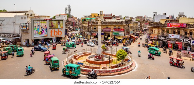 Lucknow, India - May 06 2019: Aerial view of streets in lucknow India