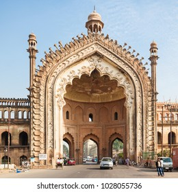 LUCKNOW, INDIA - NOVEMBER 15, 2015: The Rumi Darwaza (Turkish Gate) in Lucknow, Uttar Pradesh state of India is an imposing gateway.