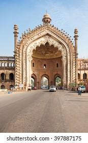 LUCKNOW, INDIA - NOVEMBER 15, 2015: The Rumi Darwaza (Turkish Gate) in Lucknow, Uttar Pradesh state of India is an imposing gateway.