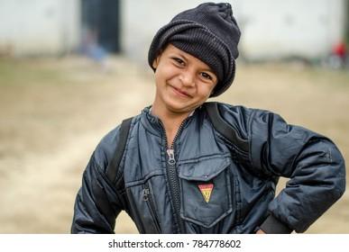 Lucknow uttar Pradesh India January 1st 2018: Street Photography  A smiling girl