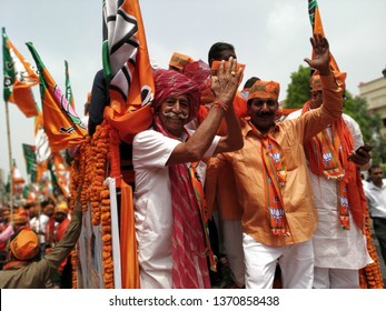 Lucknow, uttar pradesh /India-april 16 2019: on 16 April, Rajnath singh arrived lucknow to fill nomination, the old and  youngsters were promoting BJP with full enthusiasm