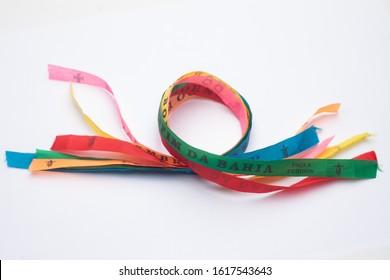 Lucky bracelets typical of Bahia, Brazil (Lembrança do Senhor do Bonfim da Bahia). Translation: Reminder of our Sir of Bonfim of Bahia.
