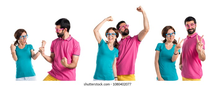 Lucky couple in colorful clothes