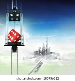 lucky dice in sky space elevator concept above city illustration