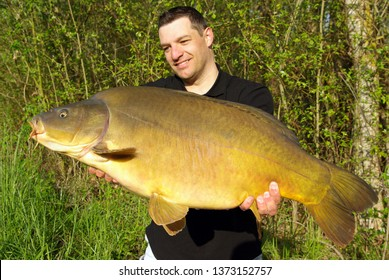 lucky fisherman holding a big leather carp. Catch of fish, freshwater fishing