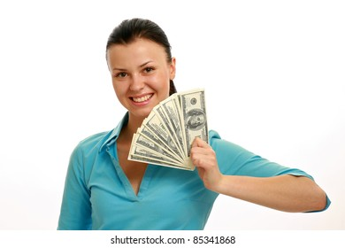 Lucky girl with cash isolated