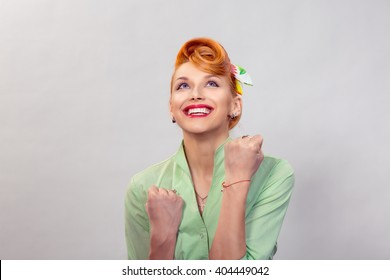 Lucky girl. Closeup portrait happy young woman happy exults pumping fists ecstatic isolated grey white wall background. Celebrate success concept. Human facial expression emotion feeling body language