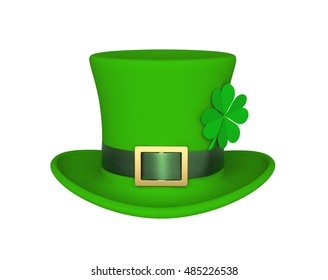 Lucky green hat with clover for Saint Patrick's Day, isolated on white. 3D rendering