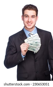 Lucky man with money isolated on white background