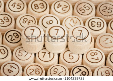 Lucky Number 777 On Background Wooden Stock Photo (Edit Now