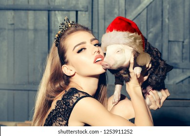 Lucky Pig. Chinese New Year. 2019. The year of the pig. Womans with baby pig with christmas hat celebrating Chinese New Year. Happy chinese new year 2019 Zodiac