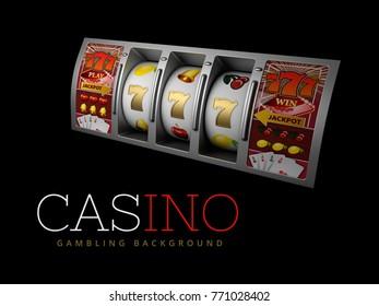 Lucky triple seven Jackpot, silver slot machine. Sign of profit easy money. 3d Illustration