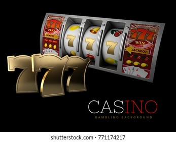 Lucky triple seven Jackpot with silver slot machine. Sign of profit easy money. 3d Illustration