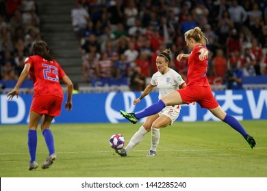 Lucy Bronze of England and Samantha Mewis of USA during the FIFA Women's World Cup France 2019 semi-final football match vs England and USA on July 2, 2019 Groupama Stadium Lyon France