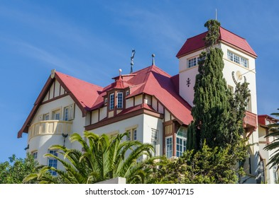 Luderitz, Namibia - July 08 2014: Famous historic Goerke Haus of German colonial times on hill overlooking Luderitz