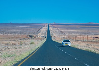 Luderitz/Namibia - June, 2018: A car travels on the way to Luderitz city, Namibia.