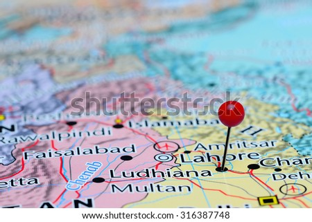 Ludhiana Pinned On Map Asia Stock Photo (Edit Now) 316387748 ...