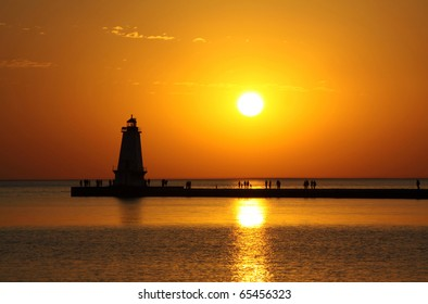 Ludington North Breakwater Light located on Lake Michigan.