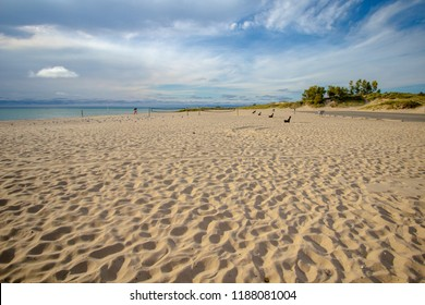 Ludington State Park Beach. Wide sandy beach and Lake Michigan coast at one of Michigan's most popular state park.