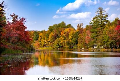 Ludlow, Vermont, USA. September 25, 2020.  Echo Lake, Ludlow VT.