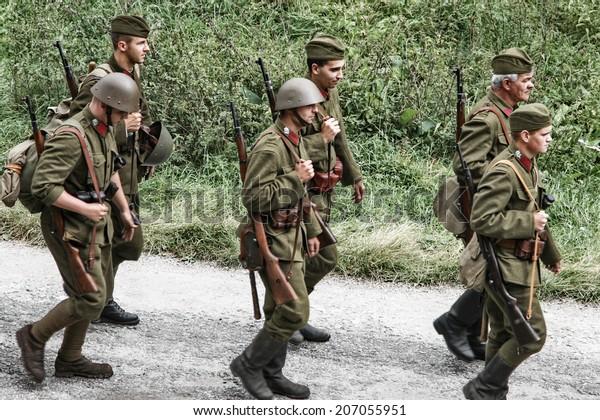 Ludrova Slovakia September 10 Simulation Battle Stock Photo (Edit