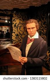 Ludwig van Beethoven wax figures in Madame Tussauds museum in Berlin, Germany - 20/04/2019