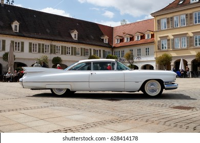 LUDWIGSBURG, GERMANY - APRIL 23, 2017: Cadillac Eldorado oldtimer car at the eMotionen event on April 23, 2017 in Ludwigsburg, Germany. Side view.