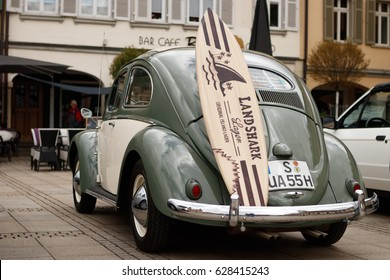 LUDWIGSBURG, GERMANY - APRIL 23, 2017: Volkswagen Beetle oldtimer car at the eMotionen event on April 23, 2017 in Ludwigsburg, Germany. Rear side view.