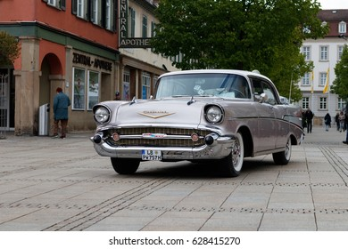 LUDWIGSBURG, GERMANY - APRIL 23, 2017: Chevrolet Bel Air oldtimer car at the eMotionen event on April 23, 2017 in Ludwigsburg, Germany. Front side view.