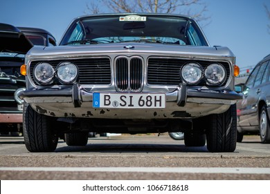Ludwigsburg, Germany - April 8, 2018: BMW 3.0 CSi oldtimer car at the 2018 Retro Season Opener meeting and show.