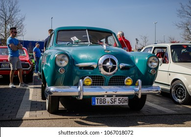 Ludwigsburg, Germany - April 8, 2018: Studebaker Champion oldtimer car at the 2018 Retro Season Opener meeting and show.