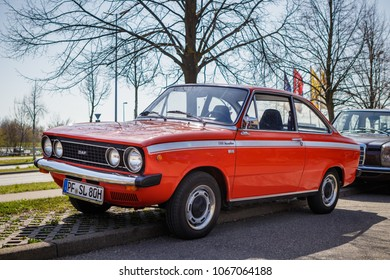 Ludwigsburg, Germany - April 8, 2018: DAF 66 1300 Marathon oldtimer car at the 2018 Retro Season Opener meeting and show.