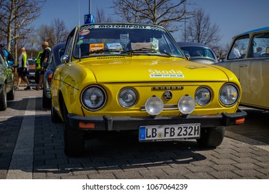 Ludwigsburg, Germany - April 8, 2018: Skoda S110 oldtimer car at the 2018 Retro Season Opener meeting and show.