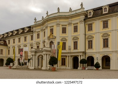 LUDWIGSBURG, GERMANY - NOVEMBER 03: cloudy weather on historical Baroque castle courtyard entrance, shot in bright cloudy light on nov 03, 2018 at Ludwigsburg, Germany