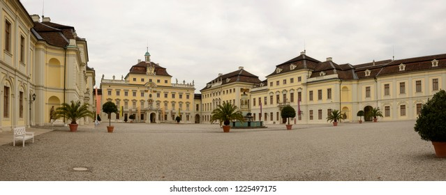 LUDWIGSBURG, GERMANY - NOVEMBER 03: cloudy weather on historical Baroque castle courtyard and facades, shot in bright cloudy light on nov 03, 2018 at Ludwigsburg, Germany