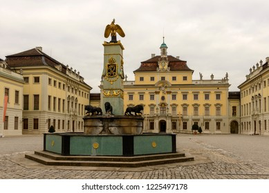 LUDWIGSBURG, GERMANY - NOVEMBER 03: cloudy weather on historical Baroque castle courtyard fountain, shot in bright cloudy light on nov 03, 2018 at Ludwigsburg, Germany