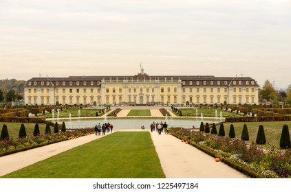 LUDWIGSBURG, GERMANY - NOVEMBER 03: cloudy weather on historical Baroque castle south facade and gardens, shot in bright cloudy light on nov 03, 2018 at Ludwigsburg, Germany