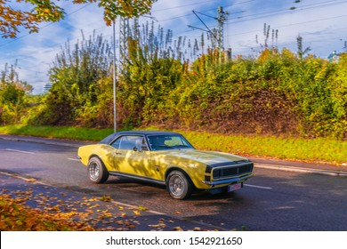 Ludwigsburg, Germany - October 20, 2019: Chevrolet Camaro RS american oldtimer muscle car at the Retro Saisonabschluss 2019 car meeting and show.