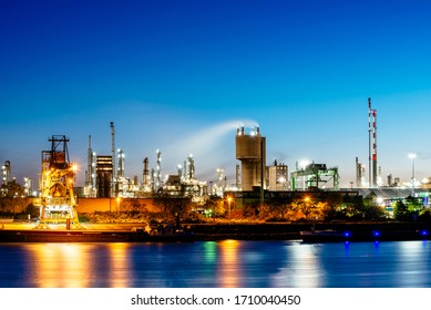 Ludwigshafen, Rhineland-Palatinate/ Germany - april 20 2020: The BASF plants at night. BASF in Ludwigshafen is the largest chemical location worldwide