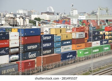 LUDWIGSHAFEN-MAY 14:View of the port from the Kurt Shumacher bridge,May 14,2015 in Ludwigshafen Germany.This port terminal is on of the mains terminal in the Rhein Neckar Region